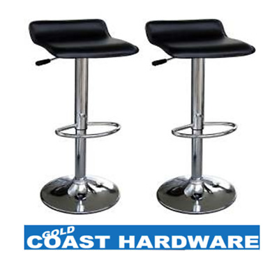 2 X Leather Bar Stool, Kitchen, Chair, Gas Lift - New-PU-PVC