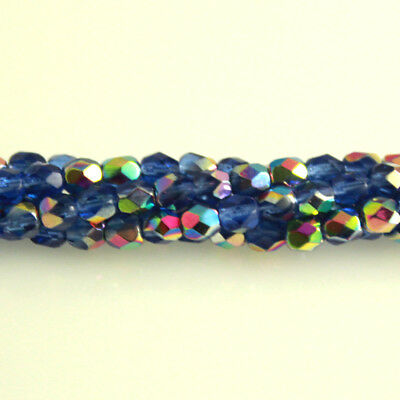 Sapphire Blue Vitral - 50 4mm Round Faceted Fire Polish Czech Glass Beads