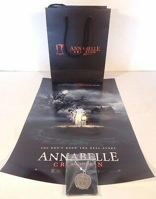 "SDCC 2017 EXCLUSIVE ""Annabelle Creation"" Gift Bag LOT Pendant & Poster - NO 'IT'"