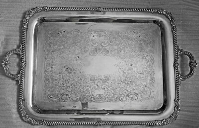 Antique Sterling Silver Tea Tray 1900 New York Marks 11+ pounds