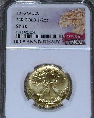 2016-W 100th Anniversary 1/2ozt Gold Walking Liberty Half Dollar NGC SP 70