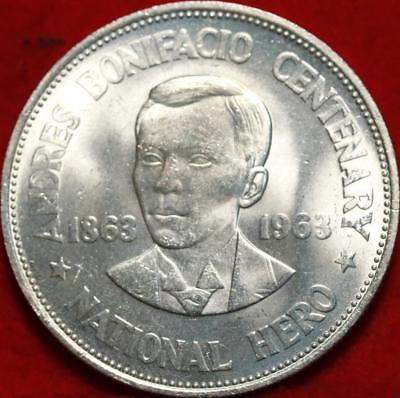 Uncirculated 1963 Philippines 1 Peso Silver Foreign Coin Free S/H