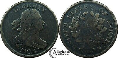 1804 1/2c Draped Bust Half Cent VF rare old coin PLAIN 4 WITH STEMS C-11