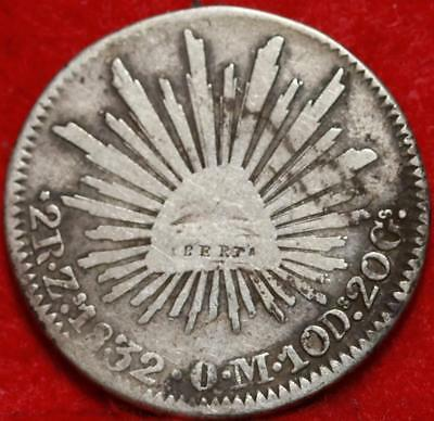 1832 Mexico 2 Reales Silver Foreign Coin Free S/H