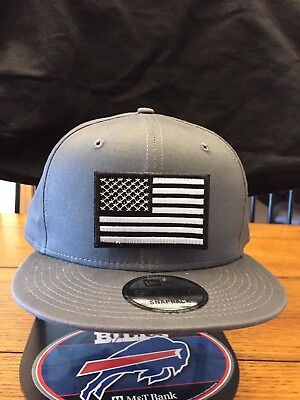 515bac9e4 NEW ERA NE400 Charcoal Flat Brim Snapback Hat/Cap American Flag Black/White