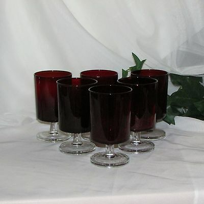 "6 Retro Ruby Red Wine Glasses Goblets 4 5/8"" Luminarc France Clear Stems Vintage"