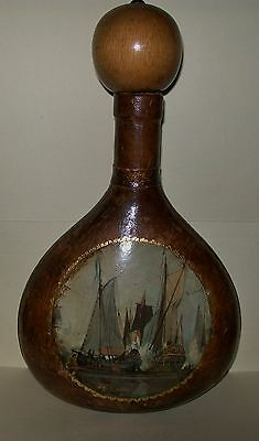 VINTAGE LEATHER COVERED GREEN GLASS BOTTLE with SHIP DESIGN - Italy