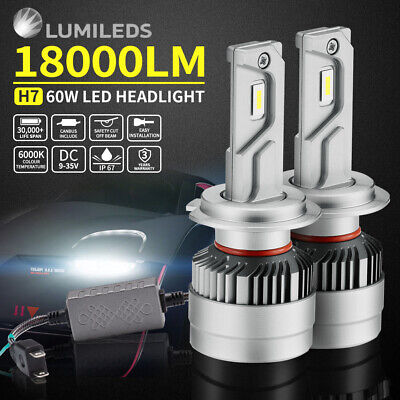 2x PHILIPS H7 18000LM LED HEADLIGHT KIT HIGH POWER VEHICLE CAR REPLACE HALOGEN