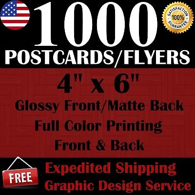 1000 Custom 4 X 6 Postcards/flyers - Free Shipping - Free Design Service