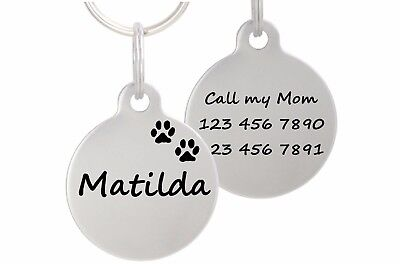 "Double Sided Laser Etched Stainless Steel Pet ID Tag for Dog & Cat Tag 1"" Round"