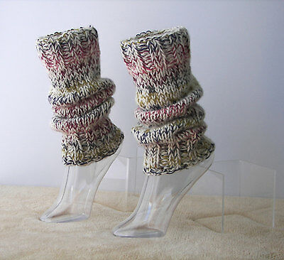 HAND Knit Extra Thick SEAMLESS Leg warmers in 100% WOOL / dance leg warmers/ USA