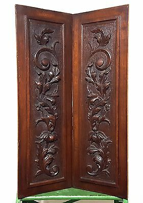 HAND CARVED WOOD PANEL MATCHED PAIR ANTIQUE FRENCH FLOWER SALVAGED CARVING 19 th