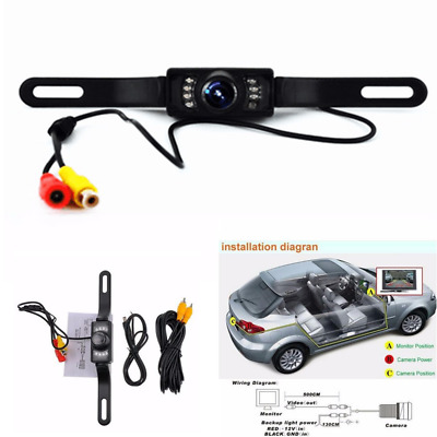 CMOS LED Car Rear View Reverse Backup Camera Parking Night Vision Waterproof