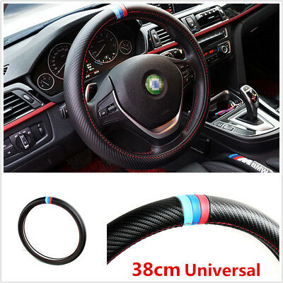 38CM Universal Carbon Fiber Look Car SUV Steering Wheel Cover PU Leather For BMW