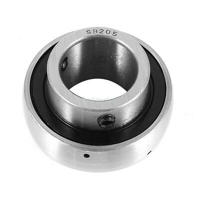 Steel SB205 1inch Ball Insert Mounted Bearing 25x 45mm x 15mm Silver Tone, Black