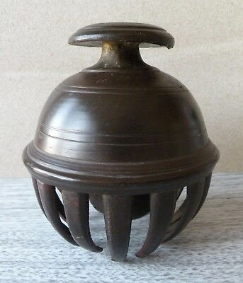 """Vintage 4"""" dia. Bronze Elephant Claw Bell -Once Gilt-"""