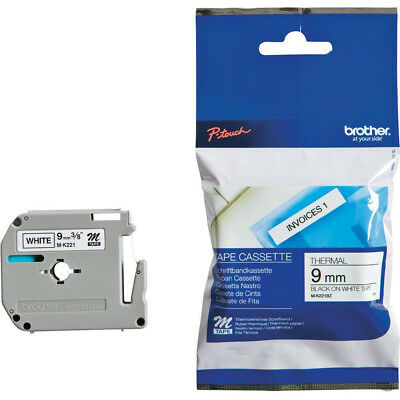 Brother P-Touch M-K221BZ 9mmx8m Black On White Plastic Labelling Tape