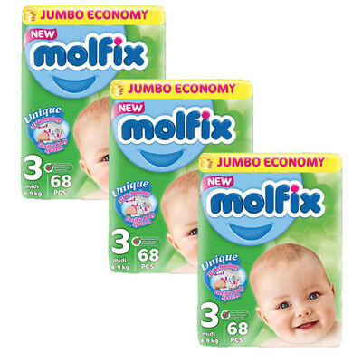 Molfix - Couches Taille 3 (4-9kg/Midi) Pack (68x3) Jumbo Economie (x204 couches)