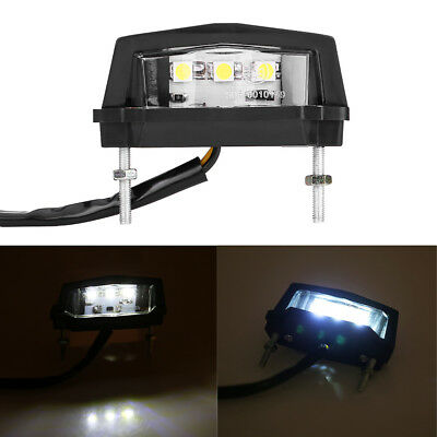 12V Universal Motorcycle White LED License Number Plate Light Rear Tail Lamp DH