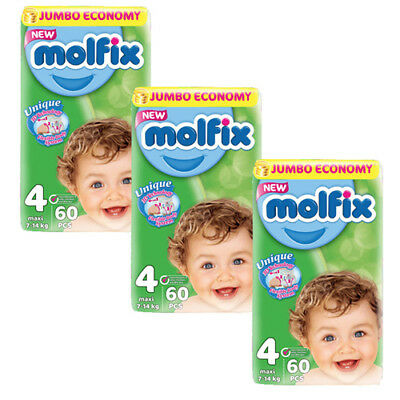 Molfix  Couches Taille 4 (7-14kg/Maxi) Pack (60x3) Jumbo Economie (x180 couches)
