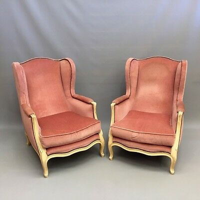 Pair of large French wing armchairs    Ref a14764