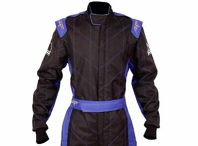 LRP Adult Kart Racing Suit Black and Blue - Speed Suit CIK/FIA Level 2 Rated
