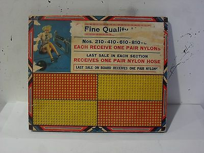 Vintage Risque Punch Board Game Board Fine Quality Nylons  Made in USA .