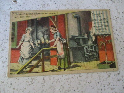 """Antique Trade Card, """"home Comfort Ranges"""", Wrought Iron Range Co. St. Louis"""