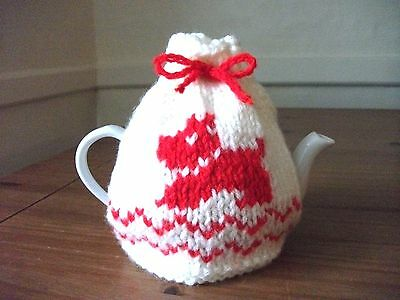 Hand Knitted Shabby Chic Scottie Dog Tea Cosy For A Small Teapot (1-2 cup)