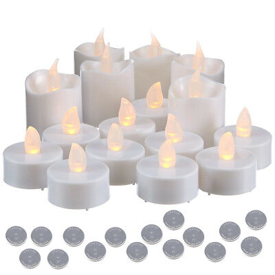16 Candele A Led Elettriche Tealight Tea Light Luce Calda + 16 Batterie Cr2032