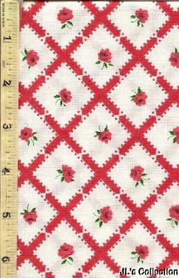 Red Ribbon Squares and Flowers FULL FEEDSACK