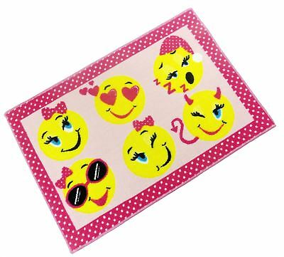 Childrens Emoji Emoticons Smiley Faces Pink Anti Slip Bedroom Rug Mat 60 X 90Cm