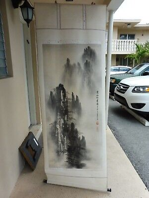 Vintage High Quality Chinese Scroll Painting Of Chinese Countryside W Mountains