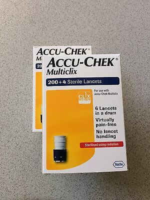 Accu-Chek Multiclix - **two Packs** 200 + 4 Sterile Lancets - ***brand New***