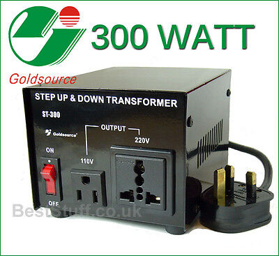 Goldsource 300 Watt Step Down & Step Up Voltage Converter Transformer UK->US->UK