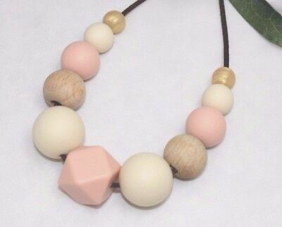 Silicone Necklace was teething sensory wood apricot Australia  jewellery