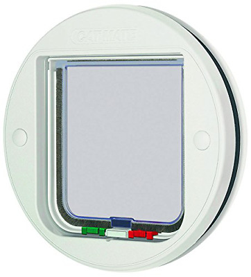 Cat Mate 4-Way Locking Cat Flap - Glass Fitting Pet Catflap Door 210W - White