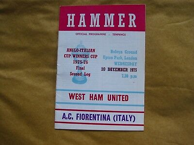 1975 Anglo-Italian Cup Winners Cup Final WEST HAM UNITED v A.C. FIORENTINA *VGC*