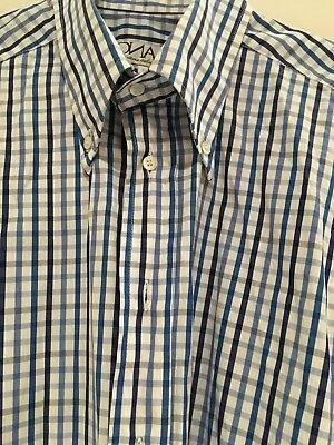 DNA GROOVE Mens Long Sleeve Shirt Medium Blue gingham lovely condition LOOK