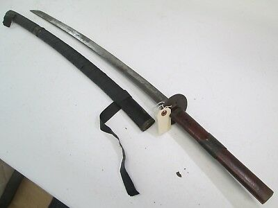 Old Japanese Samurai Sword With Scabbard Old Koto Cut Down Signed Mounts #sy2