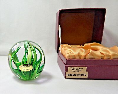 Wedgwood Glass Green White Sea Fern Globe Paperweight Etched Boxed