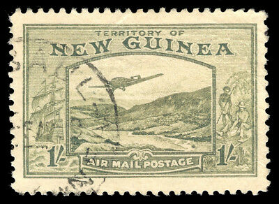New Guinea 1939 Air Mail 1s pale blue-green used cat £32 ($43). SG 221. Sc C55.