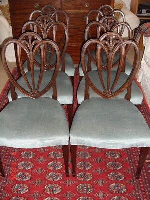 Set of 6 hepplewhite mahogany dining chairs with Prince of Wales's feathers