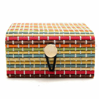 Colorful Wooden Bamboo Storage Jewelry Box For Bracelet Necklace Chain Container
