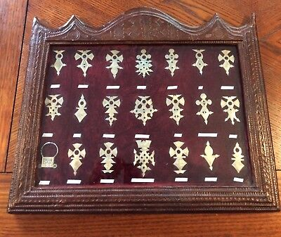21 Tuareg Silver Crosses In Leather Bound Frame