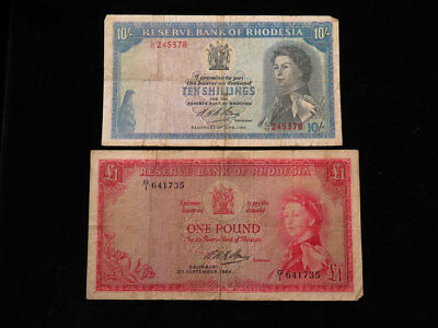 Rhodesia 2x QEII Banknotes: £1 1964 and 10 Shillings 1966