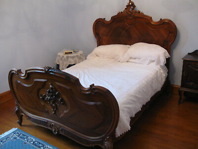 Antique French Double Bed 19th Century Walnut Victorian