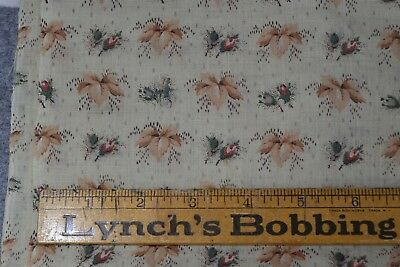 fabric cotton early 1800s 19th c  flower buds 23 x 46 in. never used antique