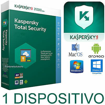 Kaspersky Total Security Multidevice 2018 1 Dispositivo -PC/ MAC/Android 1 ANNO