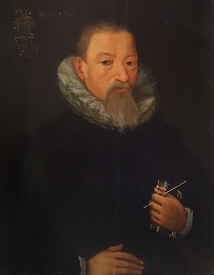 17th Century Portrait of Gentleman Dated 1610 Coat of Arms Antique Oil Painting